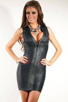 Chicloth Club Party Metallic Black Bandage Dress