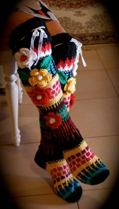 Long wool women ladies anelmaiset socks, Anelmaiset socks, warm winter knitted over the knee socks, striped, colorful knee length / high socks Crochet Leg Warmers, Crochet Socks, Knitted Slippers, Knitting Socks, Hand Knitting, Knit Crochet, Crochet Skull Patterns, Finger Crochet, Knit Stockings