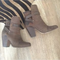 rag and bone Kinsey brown leather booties Worn less than 5 times, like new condition.  No signs of wear other than bottom.  Distressed leather look.  Size 40 fits a US 9 or 9.5.   Perfect for summer! rag & bone Shoes Ankle Boots & Booties