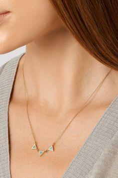 Jennifer Meyer | 18-karat gold, diamond and turquoise triangle necklace | NET-A-PORTER.COM