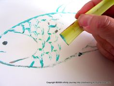 Vegetable Prints celery and Fish | Journey Into Unschooling@Brenda Casson