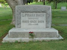 Forest Lawn Memorial Park: Gravestone of L. Frank Baum and Maud Baum. L. Frank Baum was the author of the Wizard of Oz. The Baums had moved to Los Angeles in 1910 where he wrote the musical Tik-Tok Man of Oz and started a film production company.