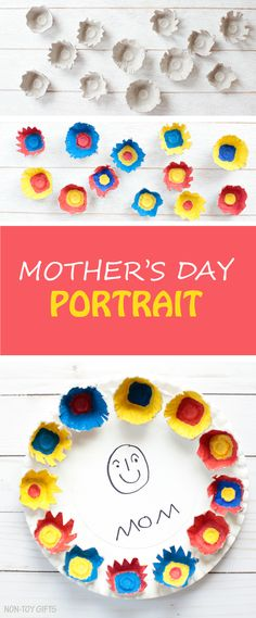 Easy Mother's Day portrait for kids to make as a gift for mom or grandma. A paper plate and egg carton craft that leaves room to creativity. Easy enough for preschoolers and kindergartners. It can make a great classroom craft, too. | at Non-Toy Gifts