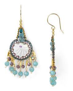 Miguel Ases Swarovski Blue Quartz Drop Earrings
