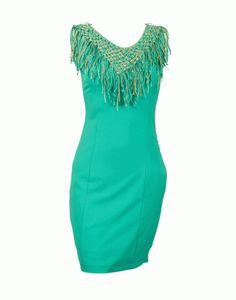 Φόρεμα με κρόσσια πράσινο Τιμή με έκπτωση 50% 60€
