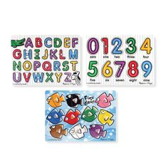 Melissa & Doug Classic Wooden Peg Puzzles, See-Inside Alphabet & Numbers, and Fish Mix & Match Colors, (Great Gift for Girls and Boys – Best for and 5 Year Olds) – Shopping Guide Best Toddler Toys, Toddler Gifts, Toddler Language Development, Puzzles For Toddlers, Toddler Puzzles, Color Puzzle, Wooden Pegs, Wooden Puzzles, Interactive Toys