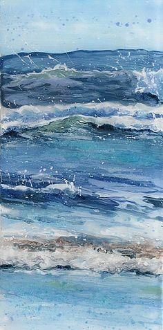 Ocean Painted by Brooklyn, 2013 Watercolor Sea, Watercolor Landscape, Seascape Paintings, Landscape Paintings, Wave Art, Art Original, Sea Art, Coastal Art, Ocean Waves