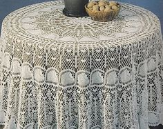 Round Pineapple Tablecloth Crochet Pattern   PDF Instant Download