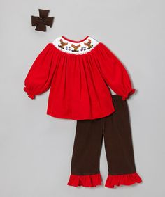 Take a look at this Brown & Red Corduroy Ruffle Pants Set - Infant, Toddler & Girls by Molly Pop Inc. on #zulily today!