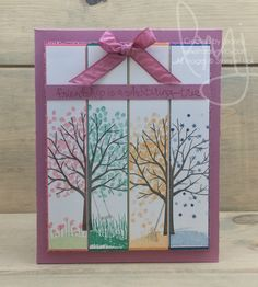 Through the Seasons | Stampin\' Up! | Sheltering Tree #literallymyjoy #dapperdenim #emeraldenvy #flirtyflamingo #peekaboopeach #sweetsugarplum #seasons #tree #blossoms #leaves #snowflakes #friendship #giftset #giftgiving #giftpackaging #cardbox #20162017AnnualCatalog #2017SaleABrationCatalog