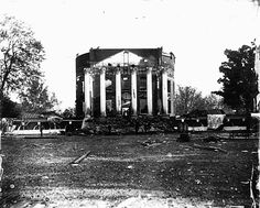 The Rotunda at University of Virginia, designed by Thomas Jefferson, fire in 1895.