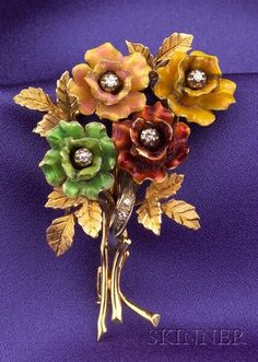 18kt Gold, Enamel, and Diamond Bouquet Brooch | Sale Number 2352, Lot Number 25 | Skinner Auctioneers