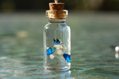 Hand-crafted tiny paper butterflies on a sprig of baby's breath in a glass bottle pendant. This is my medium sized bottle, measuring approximately 1 and. Blue Butterflies in Bottle Glass Bottle Crafts, Mini Glass Bottles, Glass Vials, Small Bottles, Bottles And Jars, Bottle Art, Bottle Jewelry, Bottle Charms, Bottle Necklace
