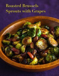 Turn anybody into a Brussels Sprouts lover! Comforting and healthy side dish, perfect for a holiday get-together. Roasted Brussels Sprouts with Grapes Recipe: http://www.steamykitchen.com/28972-roasted-brussels-sprouts-and-grapes-recipe-video.html