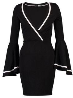 #Fashionmia - #Fashionmia Deep V-Neck Bell Sleeve Contrast Piping Bodycon Dress - AdoreWe.com