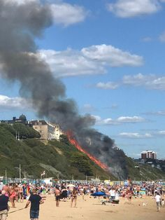 Bournemouth beach blaze 'caused by camping stove in hut' (PA Jul 20 2020) Smoke was seen billowing over the beach cliff (Ekaterina Berkova/PA)