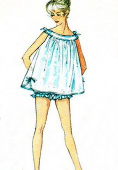 Yes, we actually wore these! 1950s Nightgown Pattern Simplicity 2566 Babydoll by paneenjerez, $10.00