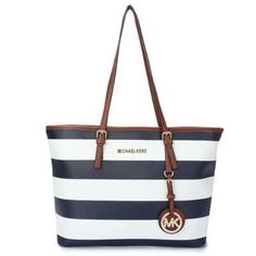 Perfect Michael Kors Jet Set Striped Travel Medium Blue White Totes Sale Online