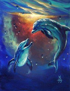 sea life - sea life photography - sea life underwater - sea life artwork - sea life watercolor sea l Dolphin Painting, Dolphin Art, Sea Life Art, Sea Art, Dolphin Images, Dolphins Tattoo, Wale, Arte Pop, Fish Art