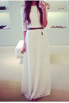 Love long white casual dress
