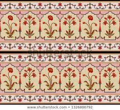 Find Mughal Floral Motif Border Pattern stock images in HD and millions of other royalty-free stock photos, illustrations and vectors in the Shutterstock collection. Border Embroidery Designs, Floral Embroidery Patterns, Textile Patterns, Print Patterns, Border Pattern, Border Print, Border Tiles, Floral Border, Floral Motif