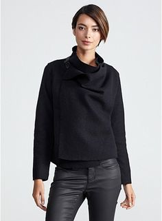 Drape Front Buckle Neck Jacket in Boiled Wool. $358 from Eileen Fisher, Fall 2013 collection