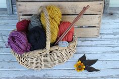 Harvest Wool in basket by Timber and Twine