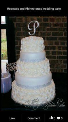 Rosettes and Rhinestones wedding cake♡ teal rhinestones maybe