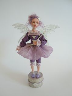 "Ooak Art DOLL ""Tiffy"" sculpture fantasy fairy in polymer clay."