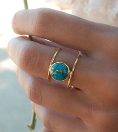 Turquoise Ring * Gold Ring * Statement Ring * Gemstone Ring * Copper Turquoise Ring * Natural * Organic Ring * Ocean * Blue Ring * BJR045 by ByCilaJewelry on Etsy https://www.etsy.com/listing/474270414/turquoise-ring-gold-ring-statement-ring