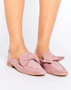 Park Lane Suede Bow Mule Loafer Shoe