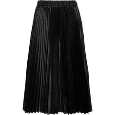 Comme des Garçons GIRL Pleated satin midi skirt ($430) ❤ liked on Polyvore featuring skirts, black, calf length skirts, pleated midi skirt, pull on skirts, elastic band skirt and mid calf skirts
