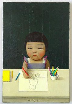 'Small Painter' by Liu Ye, acrylic on canvas. 11 x 8 inches. Liu Ye is a contemporary Chinese artist. Art And Illustration, Illustrations, Art Chinois, Art Asiatique, Inspiration Art, Art Design, Art Plastique, Chinese Art, Asian Art