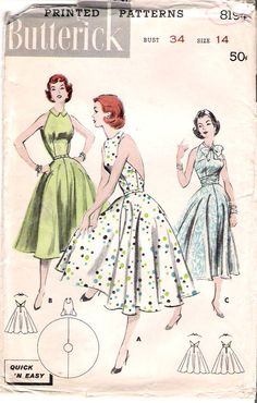Vintage dress pattern--will make this with pink and orange...maybe pink and green. Idk.