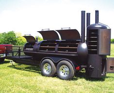 Built with heavy duty steel, our professional smokers are used and recommended by renowned pitmasters, including Executive Chef Lorell (The Blacksmith - Wyndham Hotel Marina) Custom Bbq Grills, Custom Bbq Pits, Bbq Smoker Trailer, Bbq Pit Smoker, Build A Smoker, Custom Bbq Smokers, Smoker Designs, Barbecue, Woodworking Tools