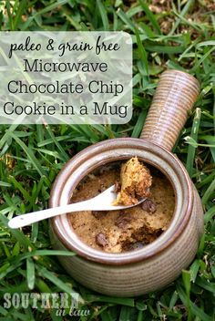 A cookie just for you! This Single Serving Paleo Microwave Chocolate Chip Cookie In a Mug can be made in just a few minutes and is gluten free, grain free, refined sugar free and absolutely delicious! There is even a lightened up version that is lower in fat and c alories!