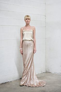 Custom Size Satin and Sequin Rose Gold Floor Length Skirt LIMITED STOCK