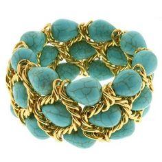 "7"" Triple Strands Turquoise Bead & Gold Color Mesh Loop Stretch Bangle Bracelet"