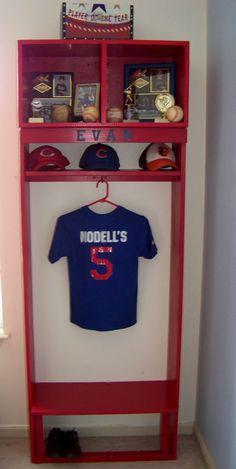 Boy's Bedroom Baseball Locker Instead of single hook, use the bat with baseball letters and add hooks.