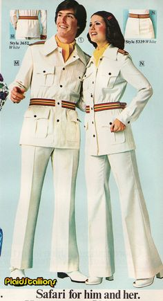His & Hers safari suits - 70's unisex fashion.