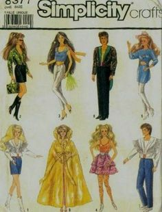Barbie Disco Clothes Ken Pattern Fringe, Mini Skirt 11 Doll Simplicity 8377 UNCUT by PrettyfulPatterns on Etsy Sewing Doll Clothes, Doll Clothes Barbie, Sewing Dolls, Barbie Dress, Doll Clothes Patterns, Doll Patterns, Clothing Patterns, Barbie Doll, Barbie Outfits