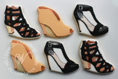 Hand-painted shoe cookies sent as a gift to Vince Camuto Shoe Cookies, Cupcake Cookies, Cupcakes, Iced Cookies, Sugar Cookies, Glamorous Dresses, Vince Camuto Shoes, Creative Cakes, Birthday Fun
