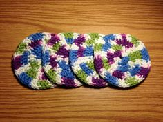 Blue Purple Green and White Circle Handmade by HoffmanHandicrafts, $5.00