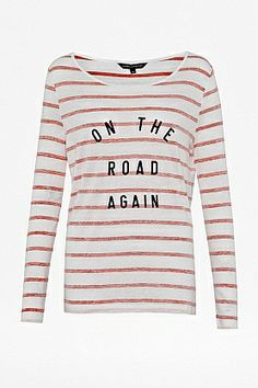 French Connection On the road long sleeve t-shirt, Multi-Coloured £28  #Slogan #Statement #logo #trend #SS14 #fashion
