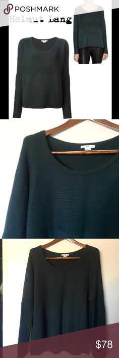 Helmut Lang Green Ribbed Sweater Helmut Lang Green Ribbed Sweater in great condition.  Beautiful emerald green color. Oversized loose fit. Very comfortable designer sweater. Size large. Helmut Lang Sweaters