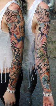 OMG, I LOVE THIS. Alice in Wonderland tattoo sleeve.