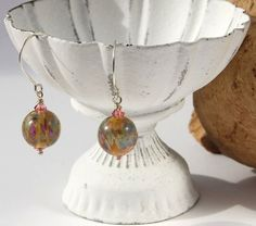 lampwork bead and sterling silver earrings by DesignsbyCaz on Etsy