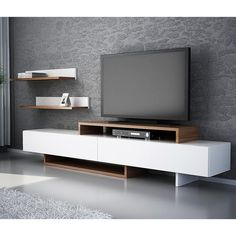 Wooden TV Stand Designs You Can Make Yourself - Dlingoo Tv Unit Design, Tv Wall Design, Tv Unit Furniture, Furniture Design, Furniture Nyc, Cheap Furniture, Living Room Tv Unit, Living Room Decor, Rack Tv