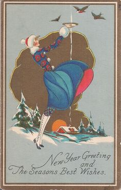 New Year Greeting and The Seasons Best Wishes - shows well dressed woman for the cold weather - she is holding up a bowl as birds come to the bowl. | eBay!