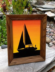 FREE SHIPPING-Vintage Sunset Sailboat Silhouette by ellansrelics02